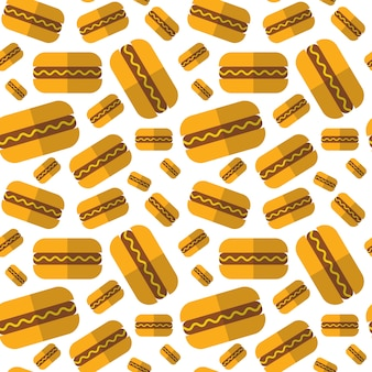 Seamless pattern with hot dogs