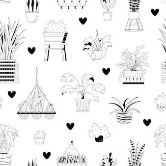 家の鉢植えの植物と心とのシームレスなパターン。