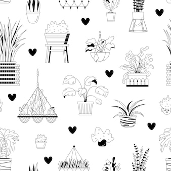 Seamless pattern with house potted plants and hearts.