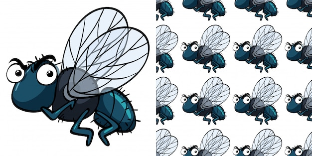 Seamless pattern with housefly
