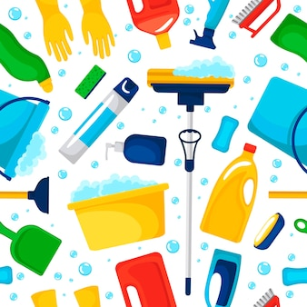 Seamless pattern with household supplies and cleaning products