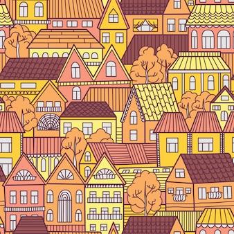 家と木とのシームレスなパターン。ベクトルイラスト