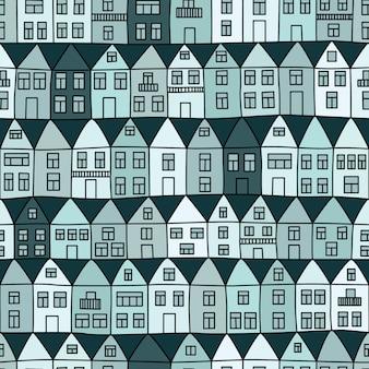 家と木とのシームレスなパターン。