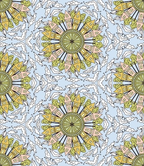 Seamless pattern with houses and clouds. kaleidoscope
