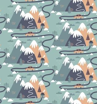 家、山、木、雲、雪、家、車とのシームレスなパターン。子供のためのスカンジナビアスタイルの手描きの冬のイラスト。