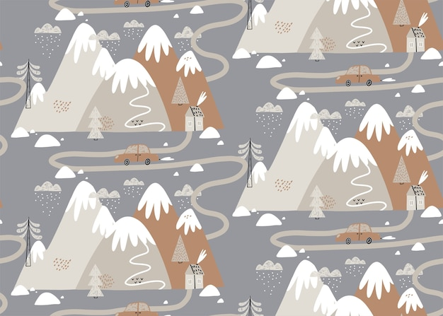 Seamless pattern with houses, mountains, trees, clouds, snow, house, and car. scandinavian style