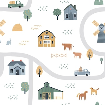 Seamless pattern with houses, roads and cars. hand drawn vector illustration of a village or farm.