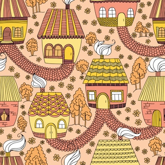 Seamless pattern with houses and trees.  illustration