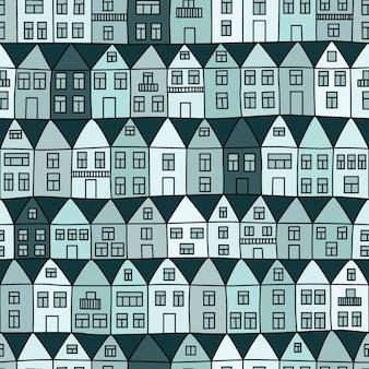 Seamless pattern with houses and trees.