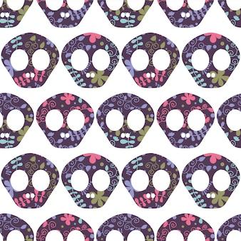 Seamless pattern with human skulls