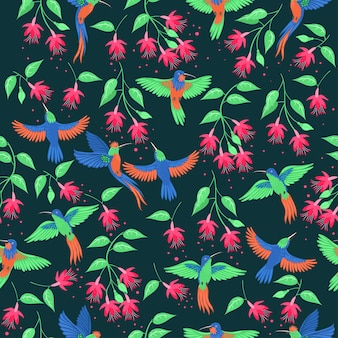 ハチドリと花のシームレスなパターン。