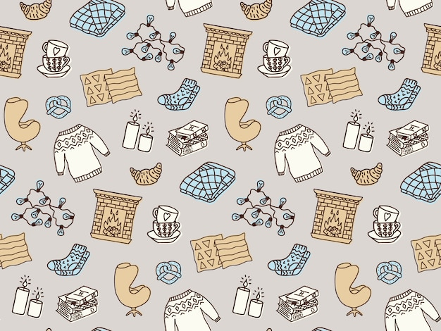Seamless pattern with hygge concept and cozy home things.