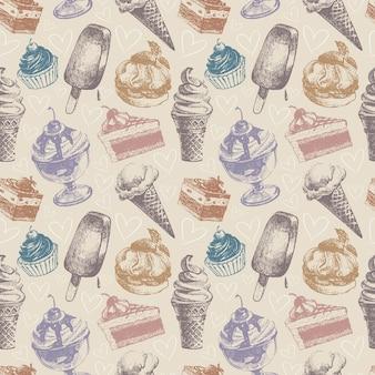 아이스크림과 케이크와 함께 완벽 한 패턴