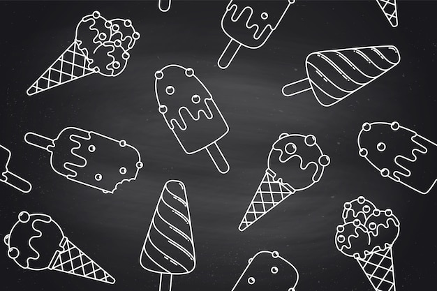 Seamless pattern with ice cream in line graphic on chlalk background