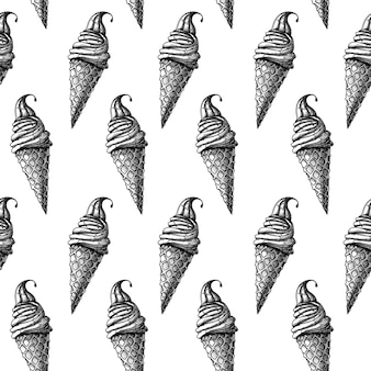 Бесшовный фон с мороженым. реалистичное мороженое. векторные иллюстрации в стиле эскиза.