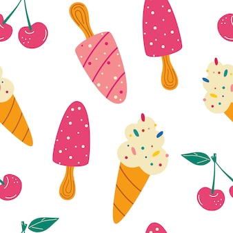 Бесшовный фон с мороженым. летний узор, сладкие десерты, вишня. для тканей, обоев, орнаментальных шаблонов для дизайна и декора. векторный мультфильм фон.