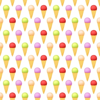 Seamless pattern with ice cream, vector illustration
