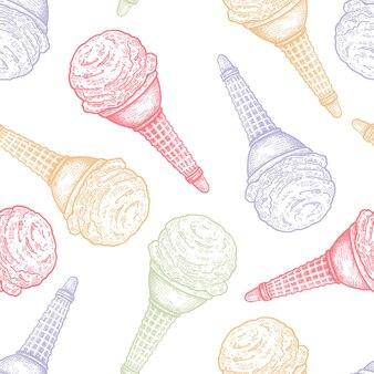 アイスクリームベクトルとのシームレスなパターン