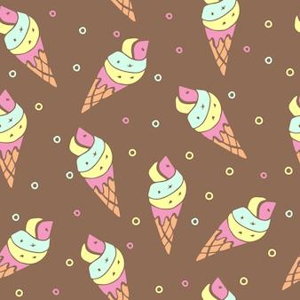 アイスクリームとシームレスなパターン。ベクトル図。