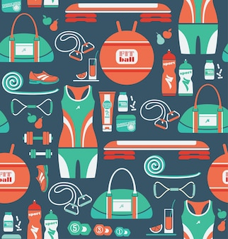 Seamless pattern with icons of fitness