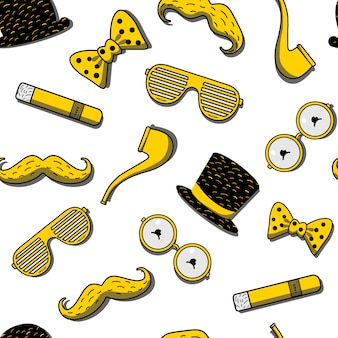 Seamless pattern with icons for hipster