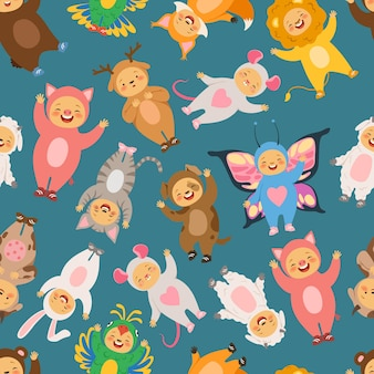 Seamless pattern with illustrations of kids in carnival costumes.