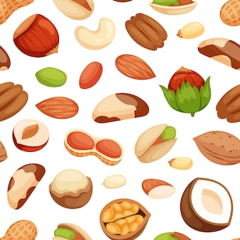 Seamless pattern with illustrations of nuts.