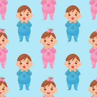 Seamless pattern with an image of a baby girl and boy
