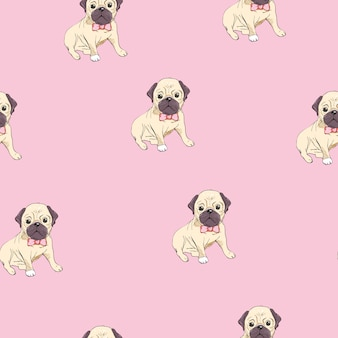 Seamless pattern with image of a funny cartoon pugs puppies on a blue background.  illustration.