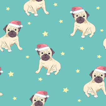 Seamless pattern with image of a funny cartoon pugs puppies