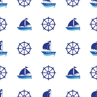 Seamless pattern with the image of yachts, anchor, steering wheel.