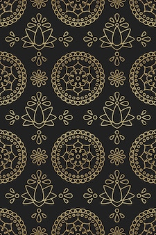 Seamless pattern with indian ornament mandala, lotus and flower in oriental motifs golden gradient on black backdrop
