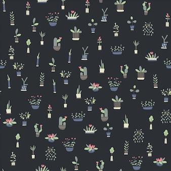 Seamless pattern with indoor plants on dark background.
