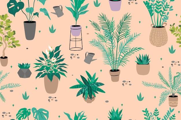 屋内植物とのシームレスなパターン。 。