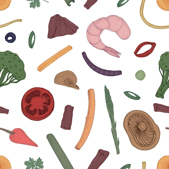 Seamless pattern with ingredients of asian wok meal on black background