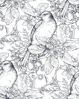Seamless pattern with ink hand drawn birds on blooming tree branches. vector endless sketch background