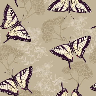 Seamless  pattern with ink hand drawn butterflies, herbs and flowers  on colorful background