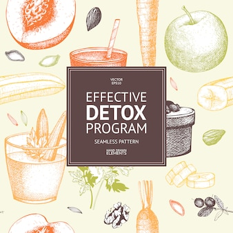 Seamless pattern with ink hand drawn diet elements  sketch. vintage healthy food and detox program background.