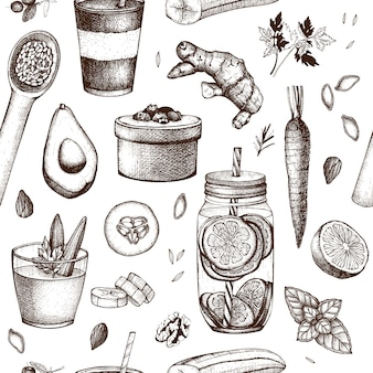 Seamless pattern with ink hand drawn food and drinks sketches. healthy food - fruits, vegetables, nuts, herbs background. summer ideas design.