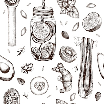 Seamless pattern with ink hand drawn healthy food and drinks sketches. vintage background. summer diet backdrop