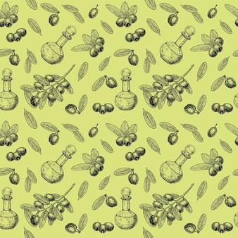 白で隔離のインク手描きオリーブの木とオリーブオイルとのシームレスなパターン。