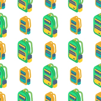 Seamless pattern with isometric 3d school  backpack.