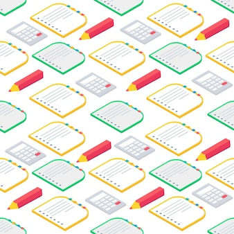 Seamless pattern with isometric 3d school supplies book, notebook, pen,