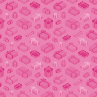 Seamless pattern with the isometric colored gift boxes
