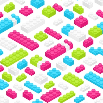 Seamless pattern with isometric colorful plastic constructor details or pieces on white