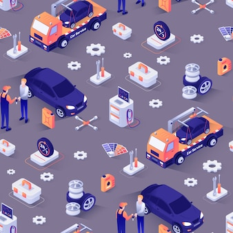 Seamless pattern with isometric icons of cars