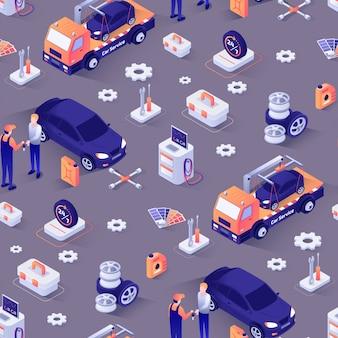 Бесшовный фон с изометрическими иконками автомобилей