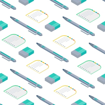 Seamless pattern with isometric  notebook, pen, eraser