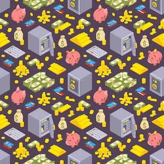 Seamless pattern with the isometric objects related to finance against the dark background.