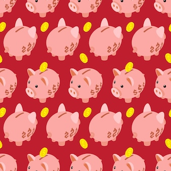 Seamless pattern with isometric piggy bank
